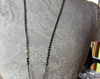 Gunmetal coin necklace one of a kind, long chain necklace in gunmetal black