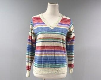 Vintage Space Dye Top Womens Size Medium Long Sleeve V Neck Sweatshirt