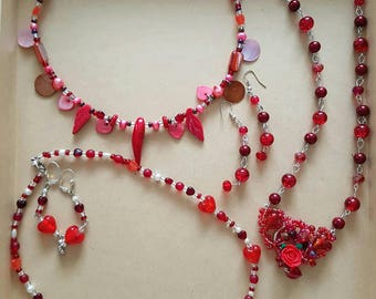 Clearance SALE Red Romance Grab Bag of 3 x necklaces,  and 2prs x earrings.