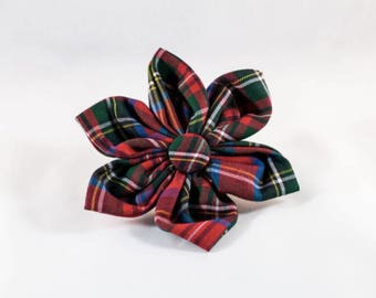 Red Scottish Tartan Plaid Girl Dog Flower Bow Tie, Holiday Dog Bow Tie, Bowtie, Red, Fall , Scottish, Flannel, Christmas
