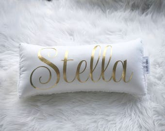 Belle's Bows name pillow/cushion. gold metallic vinyl writing.Personalised girls.nursery decor.Girls room decor. White and gold nursery.
