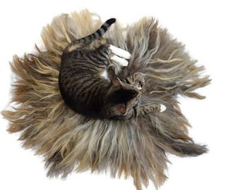 Cruelty Free, Karakul, Cat Bed, Pet Bed, Dog Mat, Wool Fleece, Natural Bed, Humane Sheepskin, Hand Felted, ReadyToShip, Cat Lover Gift