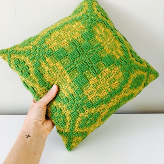 "Vintage Green Woven Decorative Throw Pillow 13""x13"" Square Green Beige Geometric Motif Handmade Mid Century Modern Cushion"