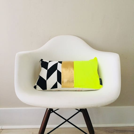 "SALE Black and White 13""x18"" Lumbar Cushion Color Block Design Neon Yellow Metallic Gold Stripes Wide Striped Modern Glam"