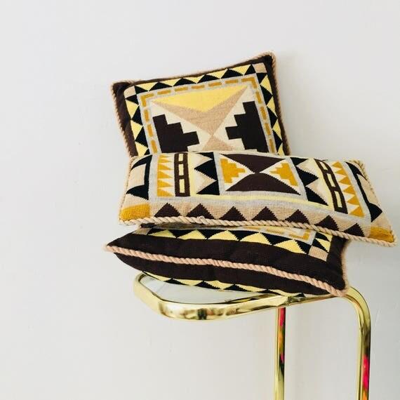 Vintage Tribal Needlepoint Pillows Set of (3) Geometric Decorative Throw Pillows Bohemian Boho Cushions