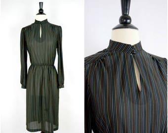 Summer Sale Vintage retro black rainbow striped dress / keyhole neckline long sleeved dress