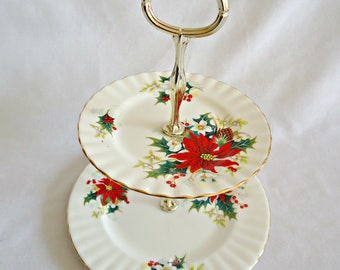 Royal Albert Poinsettia Tidbit Tray 2 Tier
