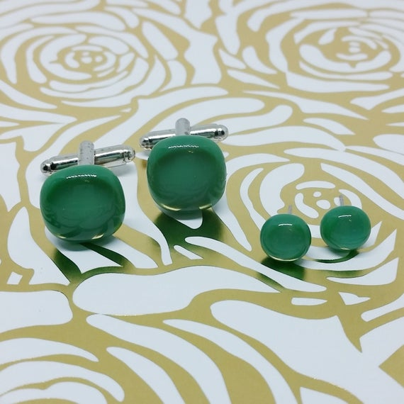 Wintergreen Matching Glass Cuff Links and Earrings, Wedding, Prom or Formal Attire