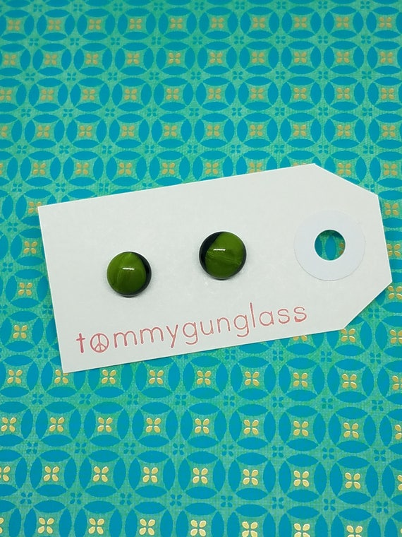 Moss Green and Black Glass Stud Earrings