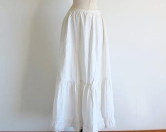 1/2 Off SALE Vintage Victorian Skirt, Antique White Petti Coat, long White Cotton Skirt, Edwardian Slip