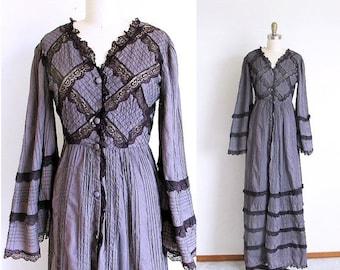 1/2 Off SALE Vintage 70s Long Gray Dress, Renaissance Gown, Gothic Princess, Bell Sleeve Maxi