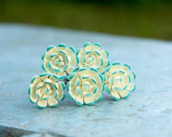 White Blue Succulent Hair Pins Set Polymer Clay Hair Decoration Women Accessory Bobby Pins Wedding Bridal Hair