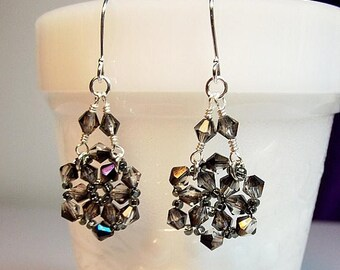 40% OFF SALE thru Tues Smoky Crystal Chandelier Drop Earrings, Christmas Gift, Mom Sister Grandmother Girlfriend Bridesmaid Jewelry Gift, Cl