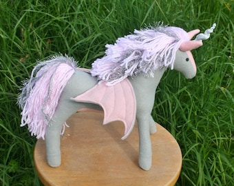 Ready to Ship! Silver Lining Pegacorn Fantasy Plush ~ Grey & Pink Handcrafted Eco Friendly Stuffed Animal Toy, Fantasy Unicorn Pegasus