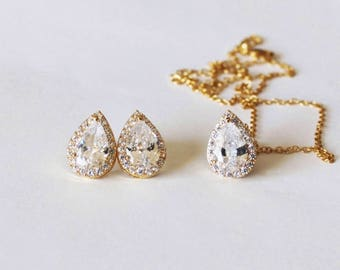 Bridesmaids gift set, gold Tear drop CZ necklace earrings SET, Cubic Zirconia gifts, Bridesmaids jewelry gift, Rose gold bridal jewelry