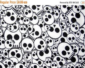 On SALE 25% OFF Skull And Crossbones - Black and White Fabric - Skull Fabric - Punk - Boy Fabric - Flannel Fabric - Cotton Fabric - 1 Yard 1