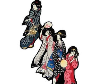 ON SALE 40% OFF Japanese - Geishas - Patches - Geishas - Tea Towel - Diy - Home Decor - Iron On Patch - Cotton- Large - Tshirts  - Womens Sh
