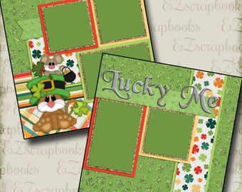 LUCKY ME - 2 Premade Scrapbook Pages - EZ Layout 404