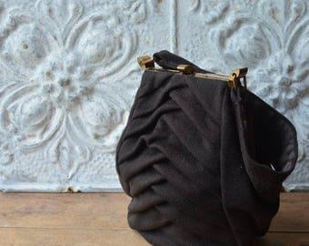 Vinatage French 1940's Brown Wool Handbag By La France
