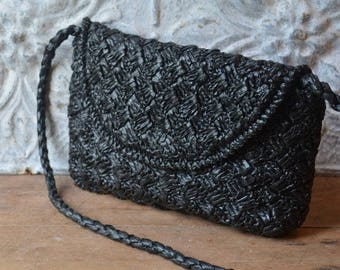 Simple Vintage Black Raffia Woven Summer Bag