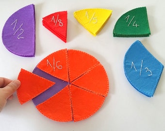 Montessori fractions learning set, Fractions felt circles, math manipulative, Waldorf toys, fractions puzzle, teacher supplies, homeschool