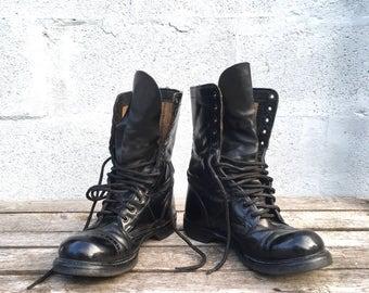 7.5 E   Vintage HH Brand Paratrooper Jump Boots Cap Toe Combat Boots