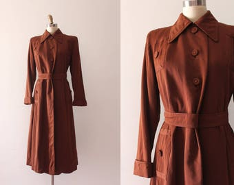 vintage 1940s coat // 40s brown wool coat