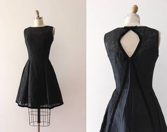 vintage 1960s party dress // 60s black lace dress