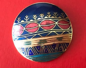 Vintage Round Abstract Guilloche Enameled Brooch