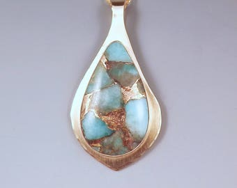 Amazonite- Gorgeous Colors- Tropical Getaway- Vacation Jewelry- Sand and Water- Golden Metal Art- Amazonite Necklace