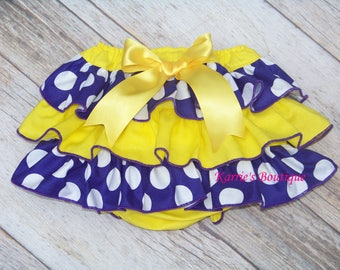 LSU Ruffle Diaper Cover / Geaux Tigers / Purple & Gold / Bloomers / Newborn / Infant / Baby / Girl / Toddler / Custom Boutique Clothing