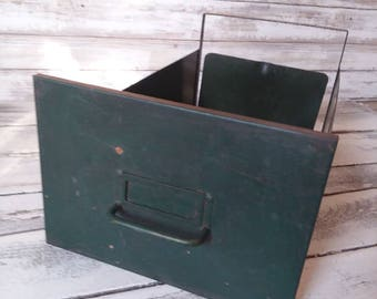 Metal File Cabinet Drawer, Industrial Chic, Old Green Bin, Rustic, Modern Farmhouse decor