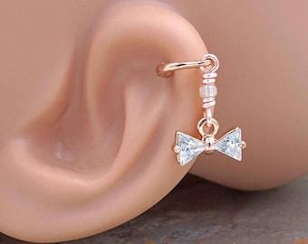Crystal Bow Beaded Rose Gold Stud Cartilage Hoop Earring Piercing 16g