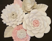 RTS Large Paper Rose Paper Flower Photo Prop Backdrop Set of 4 Flowers Wedding Nursery Decor Ready to Ship Baby Shower RESERVED