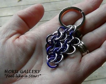 """Chainmaille Keychain, Purple, and Shiny Aluminum Rings - Silver Tone Flat Split Keychain Ring - 2 3/4"""" - Hand Crafted Artisan Jewelry"""