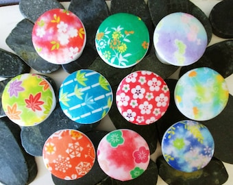 SUMMER SALE 10 wooden drawer knobs; Japanese paper origami chiyogami designs cherry blossoms hand decorated (decoupaged)1 1/2 inches 10 knob