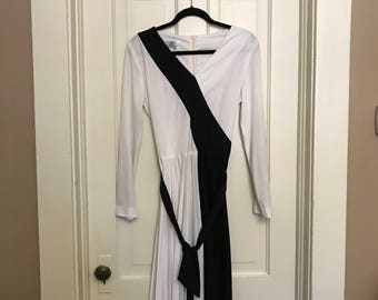 Pleated black and white