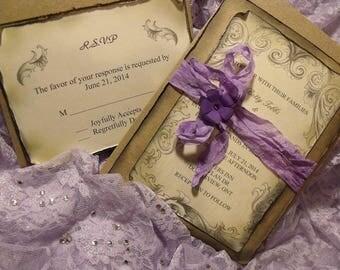 Sample Lavender / purple Wedding Invitation Suite/ Vintage inspired