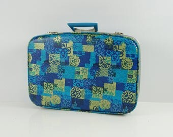Funky retro suitcase / 60s overnight case / Carry on suitcase luggage / Small suitcase