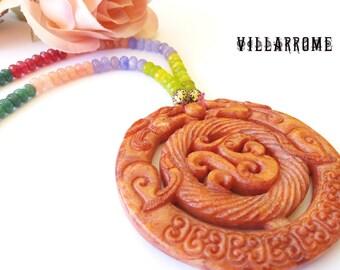 Asian orange agate Necklace, natural stone jewelry, ethnic, agates jewelry, boho jewelry, wedding, party, agate beads, bohemian, tassel