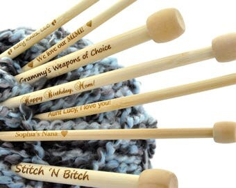"""Personalized Engraved Bamboo Knitting Needles, you choose wording and font . Size US Size 10, 6.0mm, (UK Size 4) 13"""" long knt0009"""