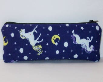"Padded Pipe Pouch, Unicorns Moons, Glass Pipe Bag, Pipe Case, Padded Pouch, Girly Pipe Cozy, Weed Bag, Vape Pen Bag, 420 Gift - 7.5"" LARGE"