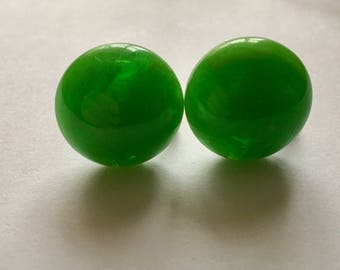 Bright Green Marbled Bakelite Earrings Lime