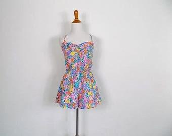 ON SALE 70s Floral Gabar Playsuit / Swimsuit - Size Medium