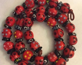"""Great Sale Lucky Ladybug Beads Red Black Blue Yellow 15  Beads 3/8"""" x 2/8"""" Glass"""