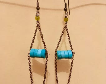Antique tuquoise chain earrings