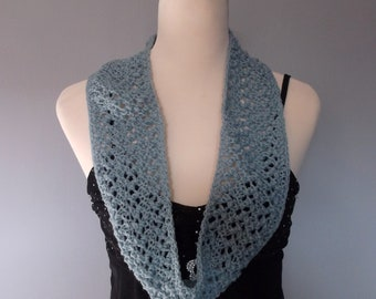 Hand knitted women's lacy infinity cowl scarf neckwarmer. Lightweight cowl. Fashion accessory. Duck egg blue.