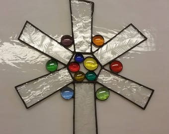 Stained Glass Star Sun Catcher 8.5 Inch Diameter Stained Glass Window Art Glass Art