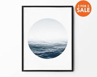 Ocean Print, Sea Wall Art, Winter Print, Foggy, Nature Wall Art, Black and White, Photography Print, Natural Decor, Navy, Minimalist