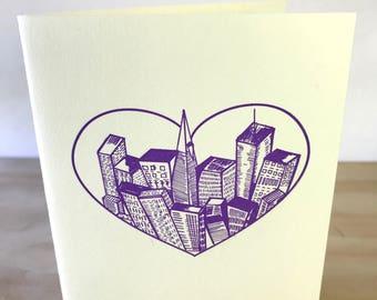 San Francisco Heart Skyline Letterpress Card
